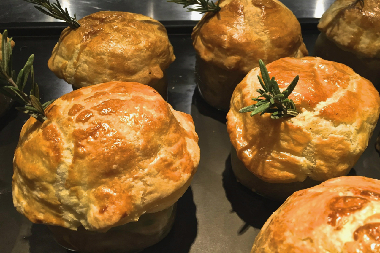 Turkey pot pies by chef Andrew Pastore at Clifton's Cafeteria in Los Angeles.