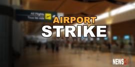 Airport workers on strike