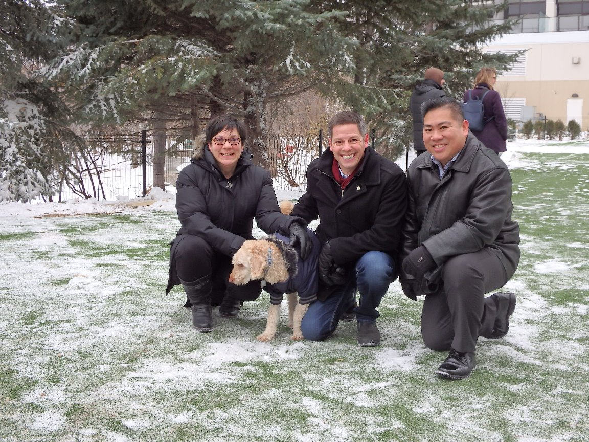 Mayor and Councillors officially open Winnipeg's first dog park on Thursday November 16, 2017