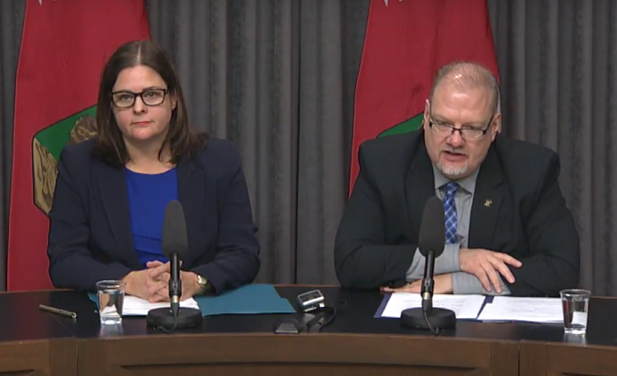 Justice Minister Heather Stefanson and Health, Seniors and Active Living Minister Kelvin Goertzen announce changes to drugged driving and outdoor smoking laws March 20, 2018